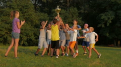 Girl Gives Cup Winning Football Or Soccer Kids Team Stock Footage
