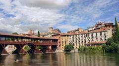 The Alpini bridge - Bassano del Grappa, Italy Stock Footage