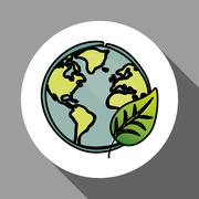 Vector illustration of Think green , editable icon Stock Illustration