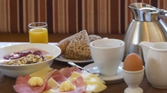 Delicious breakfast served on the table Stock Footage