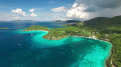 Aerial view of Caneel Bay, St John Stock Footage