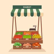 Local stall market. Selling vegetables. Flat vector illustration Stock Illustration