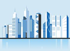 City downtown landscape. Skyscrapers in the town. Flat vector illustration. Piirros