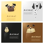 Animal portrait collection with dogs Stock Illustration