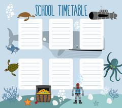 School schedule with underwater world. timetable Lesson plans all week. Shark Piirros