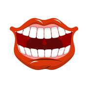 Cheerful smile. Red lips and white teeth. Open mouth Stock Illustration