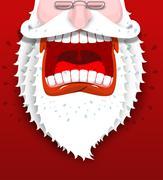 Angry Santa Claus shouts. Unhappy Santa with big white beard. Cursing and swe Stock Illustration