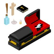 Dracula in coffin. Vampire Count in black casket. Anti vampires tools. Set fo Stock Illustration