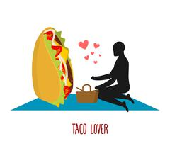 Taco lover. Mexican food at picnic. Rendezvous in Park. Fastfood and people.  Stock Illustration