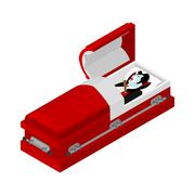 Death of Dracula. Vampire Count in an open coffin. Aspen stake in heart of gh Stock Illustration
