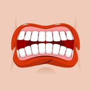 Angry mouth. aggressive emotion. Straseni grin. White teeth and red lips. Unh Stock Illustration