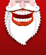 Jolly Santa Claus. Joyful grandfather with white beard. Broad smile. Big red  Stock Illustration