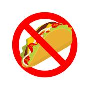 Ban taco. Prohibited acute Mexican food. Crossed-out fast food. Emblem agains Stock Illustration