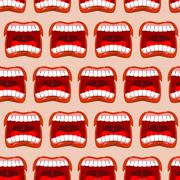 Yells lips seamless pattern. cry background. aggressive emotion texture. Open Stock Illustration