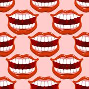 Cheerful smile lip seamless pattern. Red lips and white teeth texture. Open m Stock Illustration