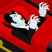 Dracula in coffin. Vampire Count in an open coffin. Ghoul in casket. Retro mo Stock Illustration