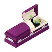 Zombie in coffin. Green dead man lying in wooden casket. Corpse in an open he Stock Illustration