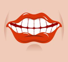 Cheerful smile. Red lips and white teeth. Open mouth on his face Stock Illustration