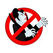 Stop vampire. It is forbidden to drink blood. Crossed-silhouette Dracula. Emb Stock Illustration
