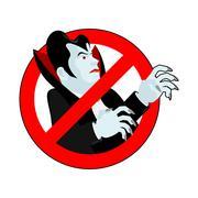 Stop vampire. It is forbidden to drink blood. Crossed-silhouette Dracula. Emb Piirros