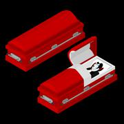 Dracula in coffin. Vampire Count in an open hearse. Ghoul in casket. Retro mo Stock Illustration