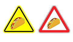 Warning sign of attention taco. Dangers yellow sign acute Mexican food. Set o Piirros
