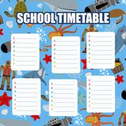 School timetable. Schedule. Back to school. Underwater World: Shark and Whale Piirros