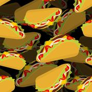 Taco 3d background. Volume texture Mexican food. Tortilla chips and onion. To Stock Illustration