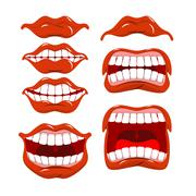 Lips set of emotions. Shouts and joy. Shouting and laughing. scream and dissa Stock Illustration