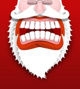 Aggressive Santa Claus shouts. Unhappy Santa with big white beard. Cursing an Stock Illustration