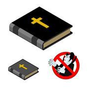 Holy Bible against vampires. Ban Dracula. Anti Vampire tool. Destruction and  Stock Illustration