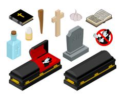 Dracula in coffin. Vampire Count in black casket. Anti vampires tools. Set fo Piirros