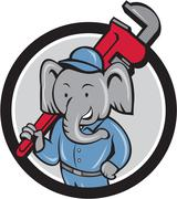 Elephant Plumber Monkey Wrench Circle Cartoon Stock Illustration