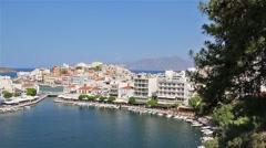 Crete. Greece. Agios Nikolaos. Panorama. Lake Voulismeni. Stock Footage