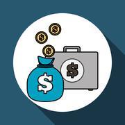 Money  icon over white background, vector illustration Stock Illustration