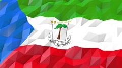 Flag of Equatorial Guinea 3D Wallpaper Illustration Stock Footage