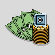 Money  icon over white background, vector illustration Stock Illustration