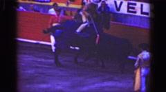 1948: Bullfighter horseback rodeo stadium arena Spanish traditional show. Stock Footage