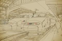 SNCF TGV trains on Northern train station, Gare du Nord Stock Illustration