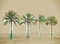 Palm trees along the coast in Palma de Mallorca - stock illustration