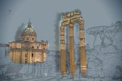 Ruins of the Roman Forum Stock Illustration