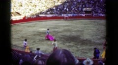 1948: Classic torero bullfight public stadium arena crowded sold-out event. Stock Footage
