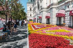 Tourists and shoppers walking around GUM in Moscow - stock photo