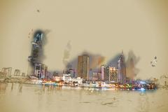 Cityscape of Ho Chi Minh at night Stock Illustration