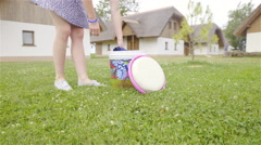 Person takes blanket from bucket and prepare for picnic 4K Stock Footage