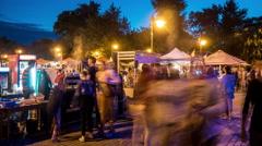 4k, crowd of people on the food festival, timelapse, dusk 1 Stock Footage