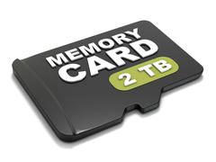 MicroSD memory card, front view 2 TB. 3D Stock Illustration