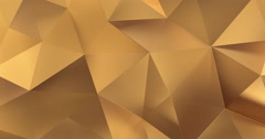 3d gold abstract geometric polygon surface motion background loop 4k Stock Footage