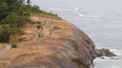 Eroded limestone coastline on the island of Gotland in Sweden Stock Footage