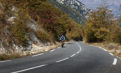 Cyclists on a mountain road in the Alpes-Maritimes Stock Photos